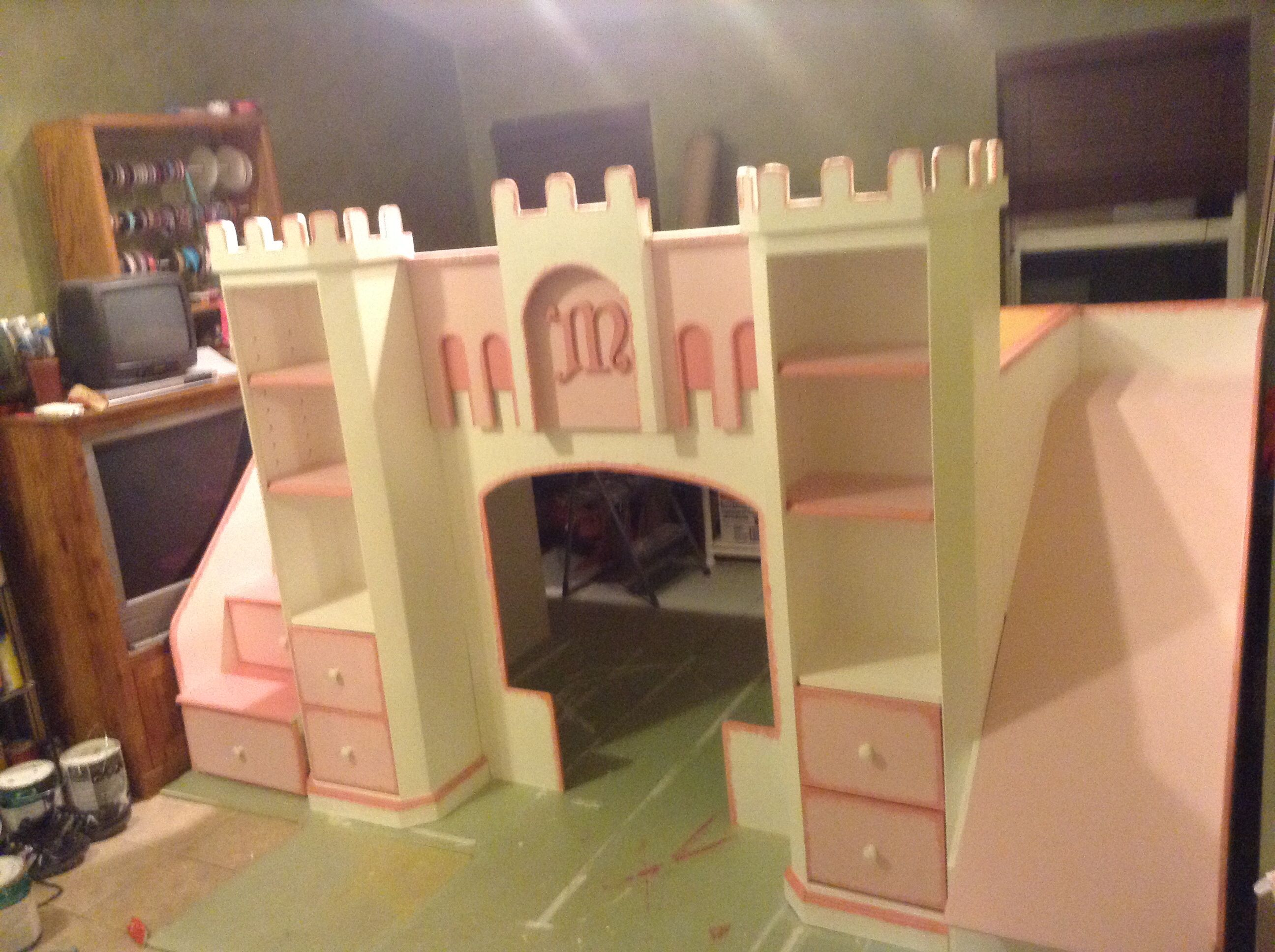 Twin loft bed craigslist  Meaganus Mansion princess castle loft bed By Custom Dreams Bed
