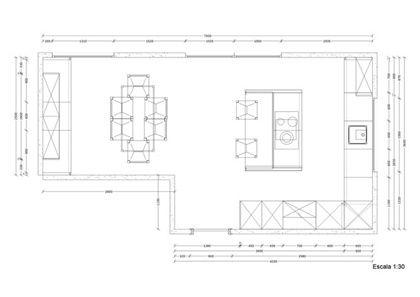 Planos de cocinas proyecto minue cocina plano antes with for Plano de una cocina profesional