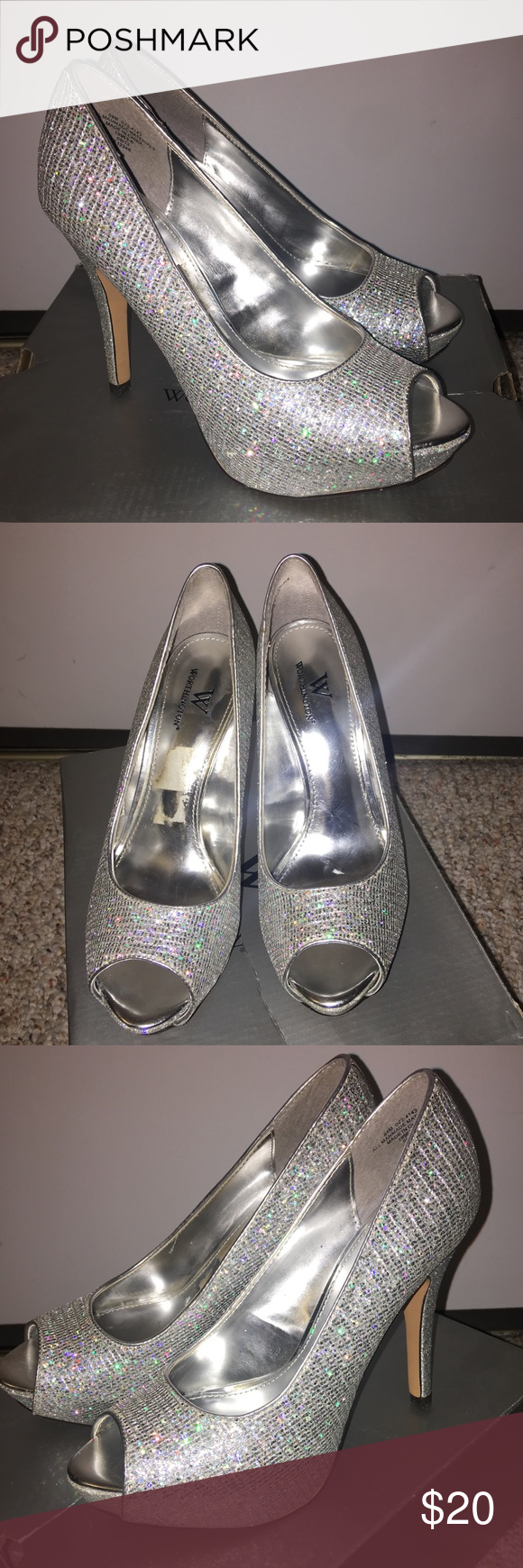 084381fdc93d Worthington Silver/sparkle heels Only worn once! Super cute Worthington  (Lara style)