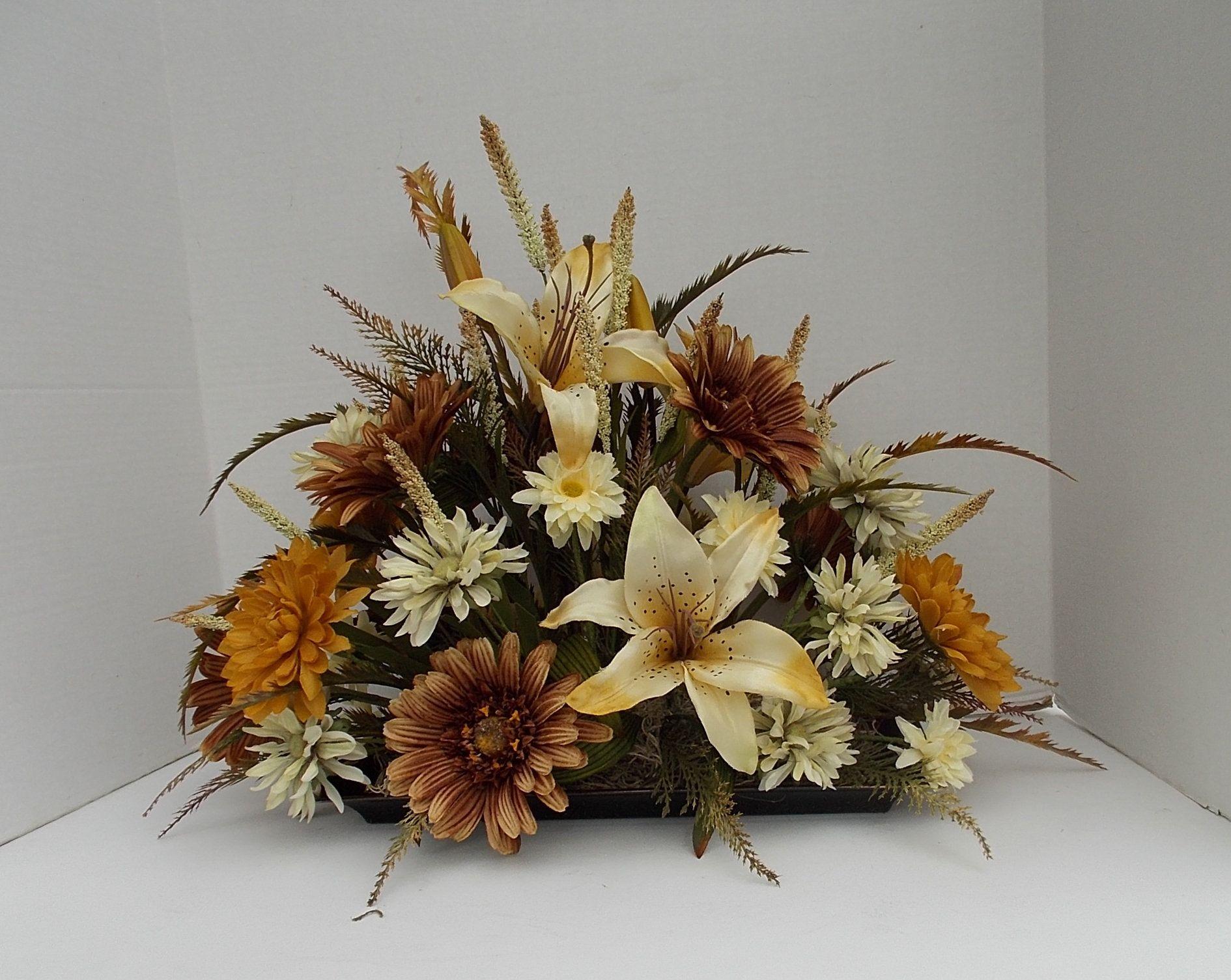 Silk Lily And Gerbera Flower Arrangement Table Centerpiece By Flowersandfrills On Etsy Gerbera Flower Flower Arrangements Silk Flowers