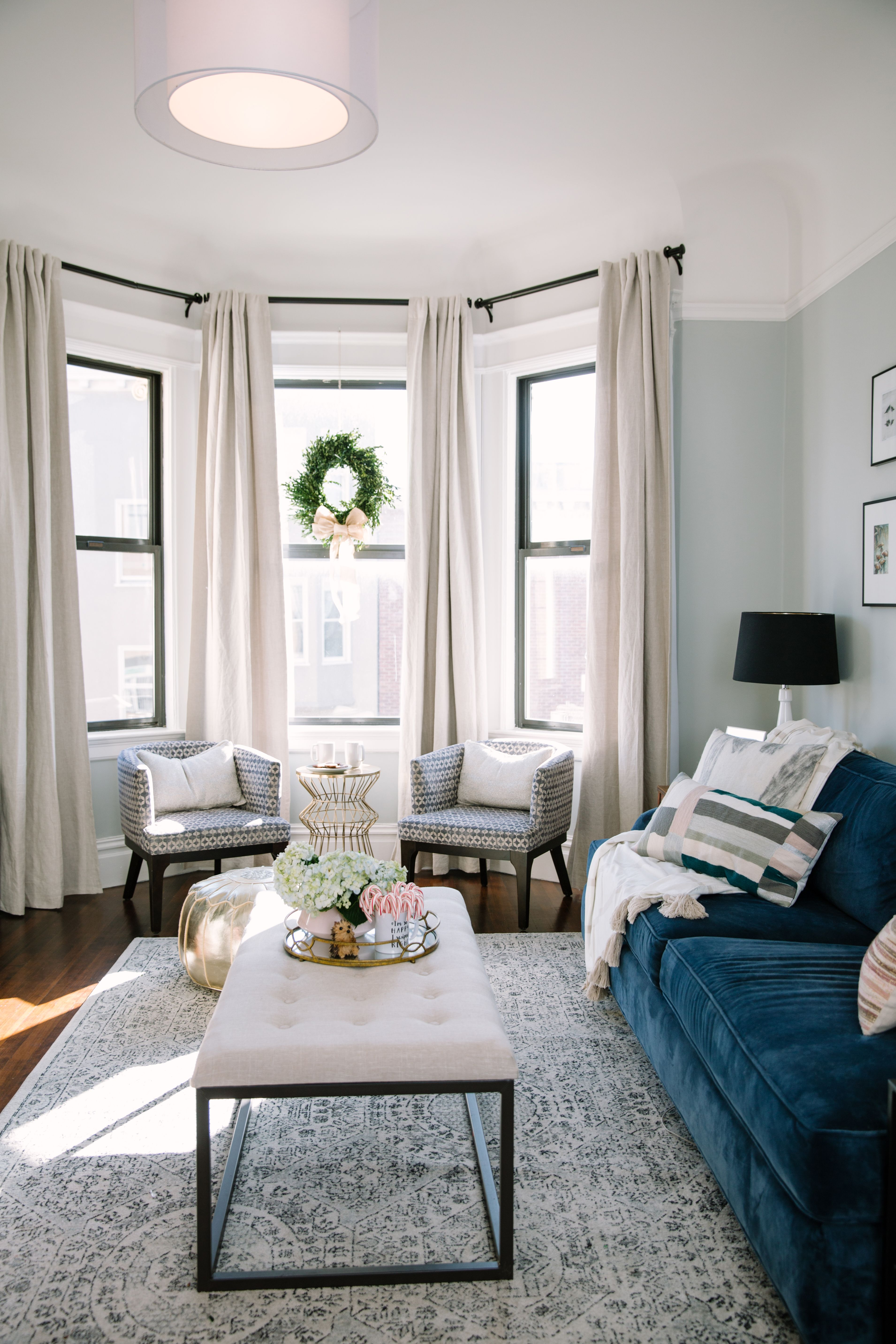 Living Room Windows Design: Velvet Blue Sofas Are The Perfect Base To A Room And
