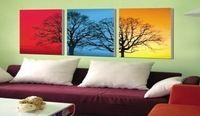 3048 pintado à mão 3 peça moderna pintura a óleo sobre tela azul vermelho parede imagem da árvore para sala de estar