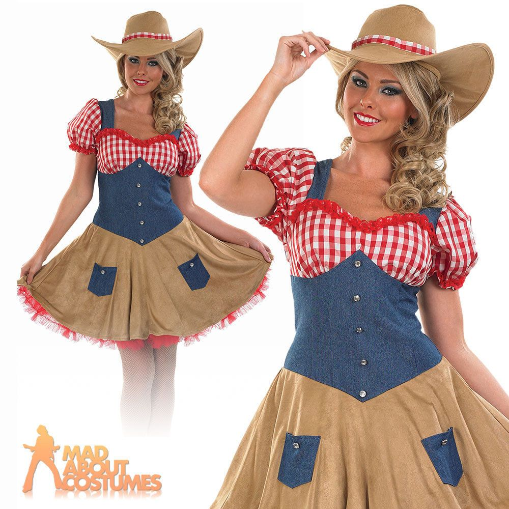 Home ladies costumes rodeo gal costume - Cowgirl Costume Ladies Womens Fancy Dress Wild West Cowboy Outfit Uk 8 18