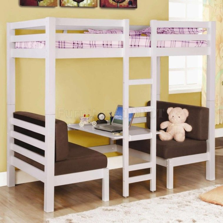 White Wooden Loft Bed With Rectangle Board Desk And Ladder Plus Double Brown Couch On