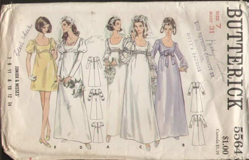 Butterick 5564 Vintage 1960s Ren Fair Wedding Dress
