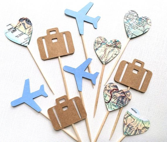 24 Travel Cupcake Toppers, Airplane, Map, Luggage, Adventure Party Decor, Food Picks, Baby Showers,
