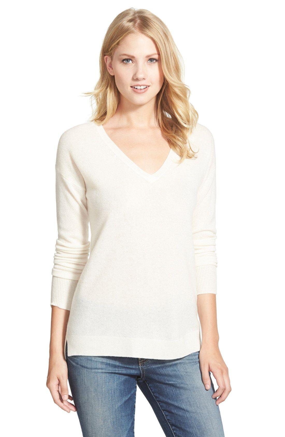 7282c556bc0  50 - Halogen® V-Neck Lightweight Cashmere Sweater (Regular   Petite ...