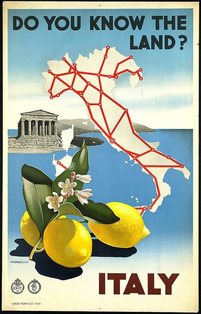 Vintage travel poster for Italy, circa 1965.