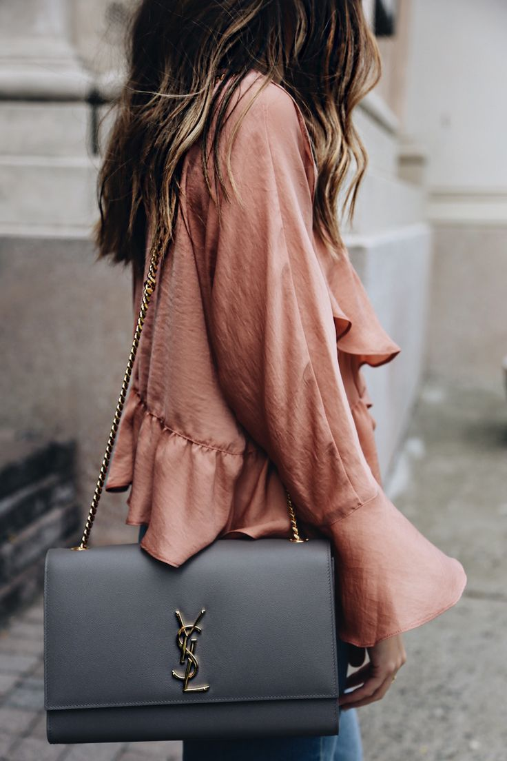07444092d213 ysl handbag + silk bell sleeve blouse