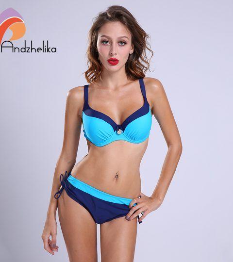 1fa0ae1dd8c Andzhelika 16 bikinis Women Swimwear Sexy Bikini Set Large Cup Push Up  Swimsuit Solid Patchwork Maillot de bain Biquini AK1605
