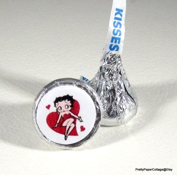 Betty Boop Valentine Heart Hershey Kiss by PrettyPaperCottage