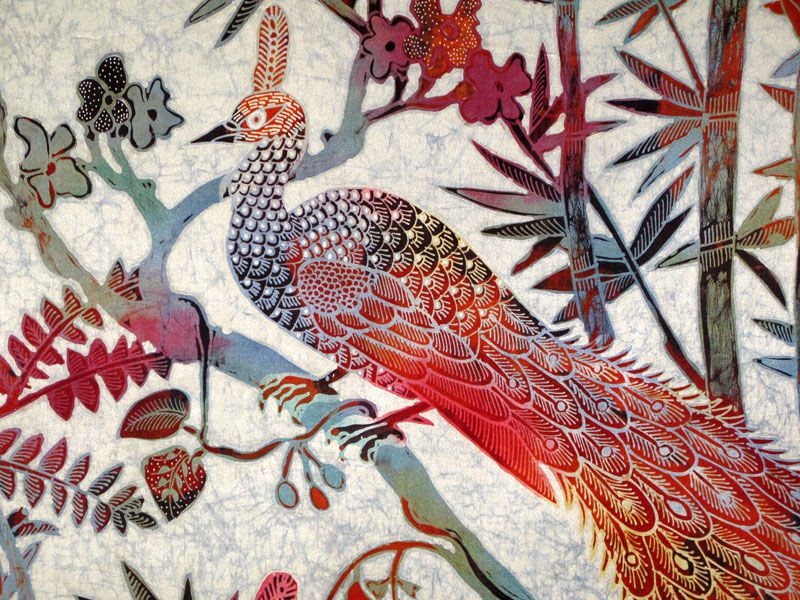 Batik Artists Famous | Order Trishna (113cm x 127cm, Silk) Jungle Peacock @ $3,252.00 Qty :
