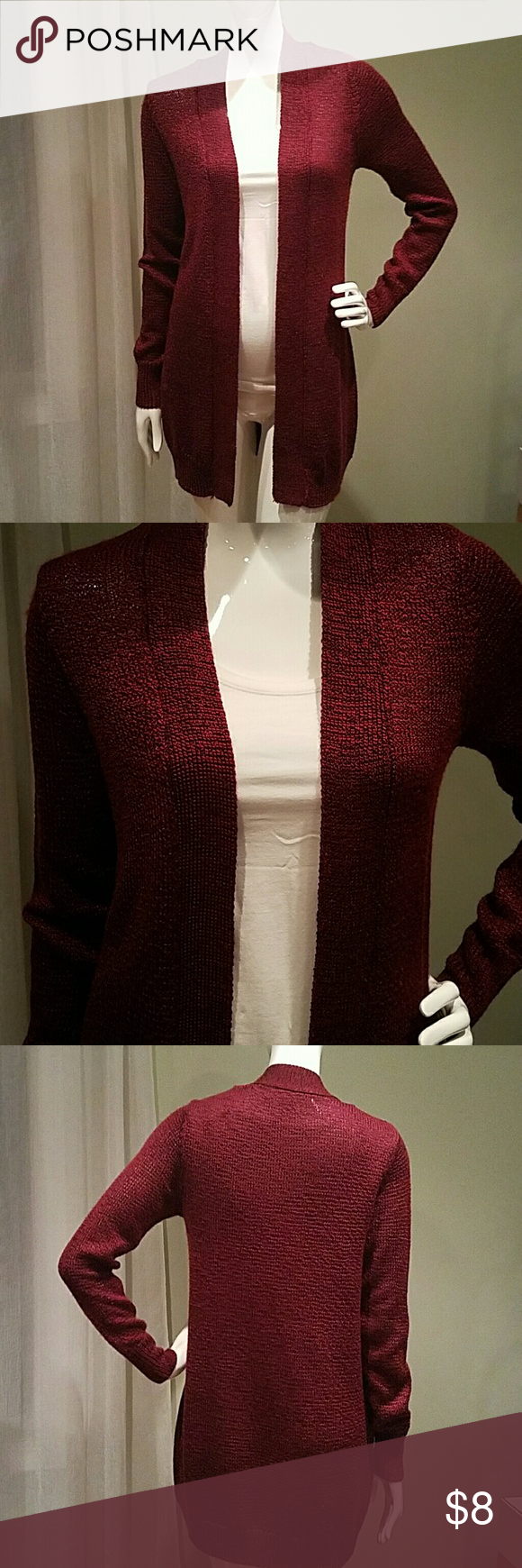 Burgundy open cardigan FOREVER21 knit burgundy open cardigan. Very soft. Worn once Forever 21 Sweaters Cardigans