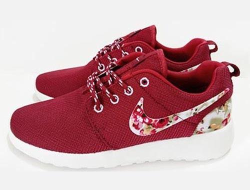 Women's Nike Roshe One Print Red Flower Running Shoes Red