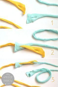 Comment faire un beau tapis de chiffon {& Fils de T-shirt bricolage!} – Un morceau d'arc-en-ciel   – SEWING