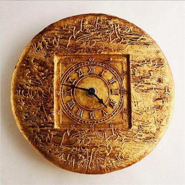 Round Ceramic Roman Wall Clock Golden Glaze Handmade
