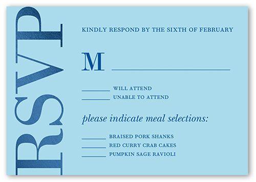 Stylish Matrimony Wedding Response Card, Square Corners, Blue