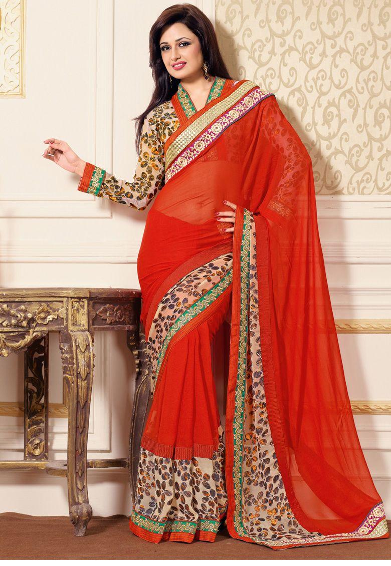 Desginer Saree Orange Georgette And Brasso Saree Designed With Zari Resham Embroidery And Pat Saree Designs Wedding Saree Collection Latest Designer Sarees