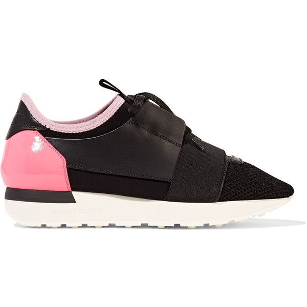Race Runner Leather, Mesh And Neoprene Sneakers - Black Balenciaga