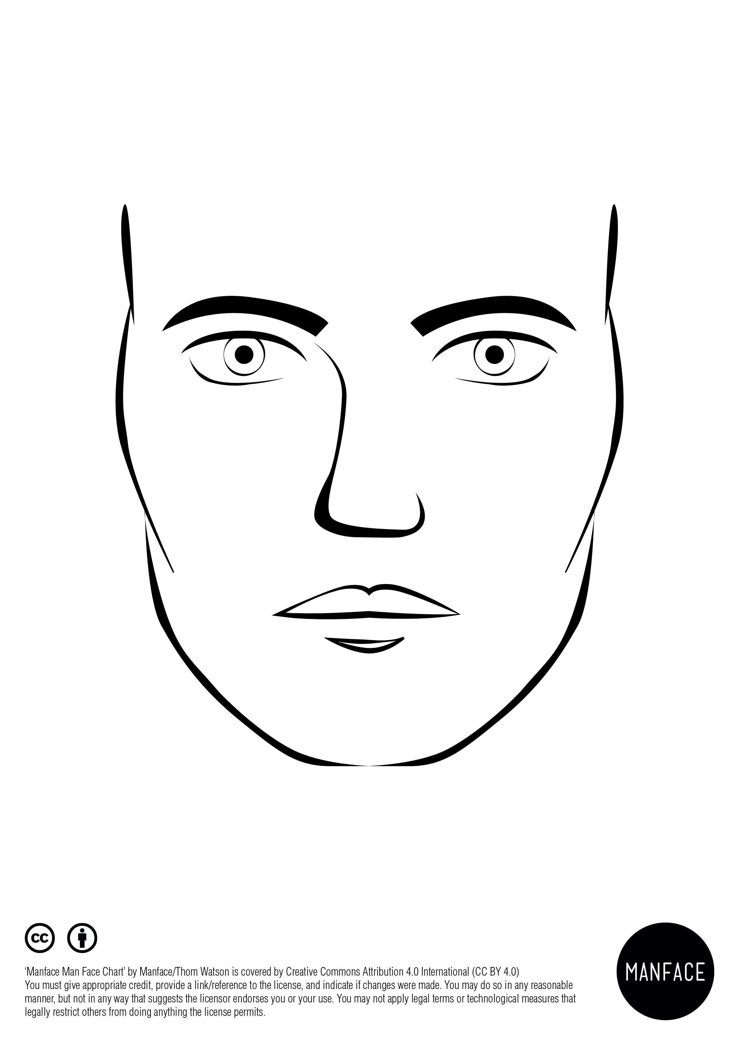 Male makeup face template
