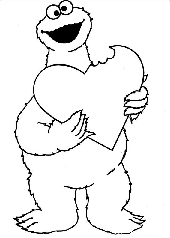 Cookie Monster Monster Coloring Pages Valentines Day Coloring