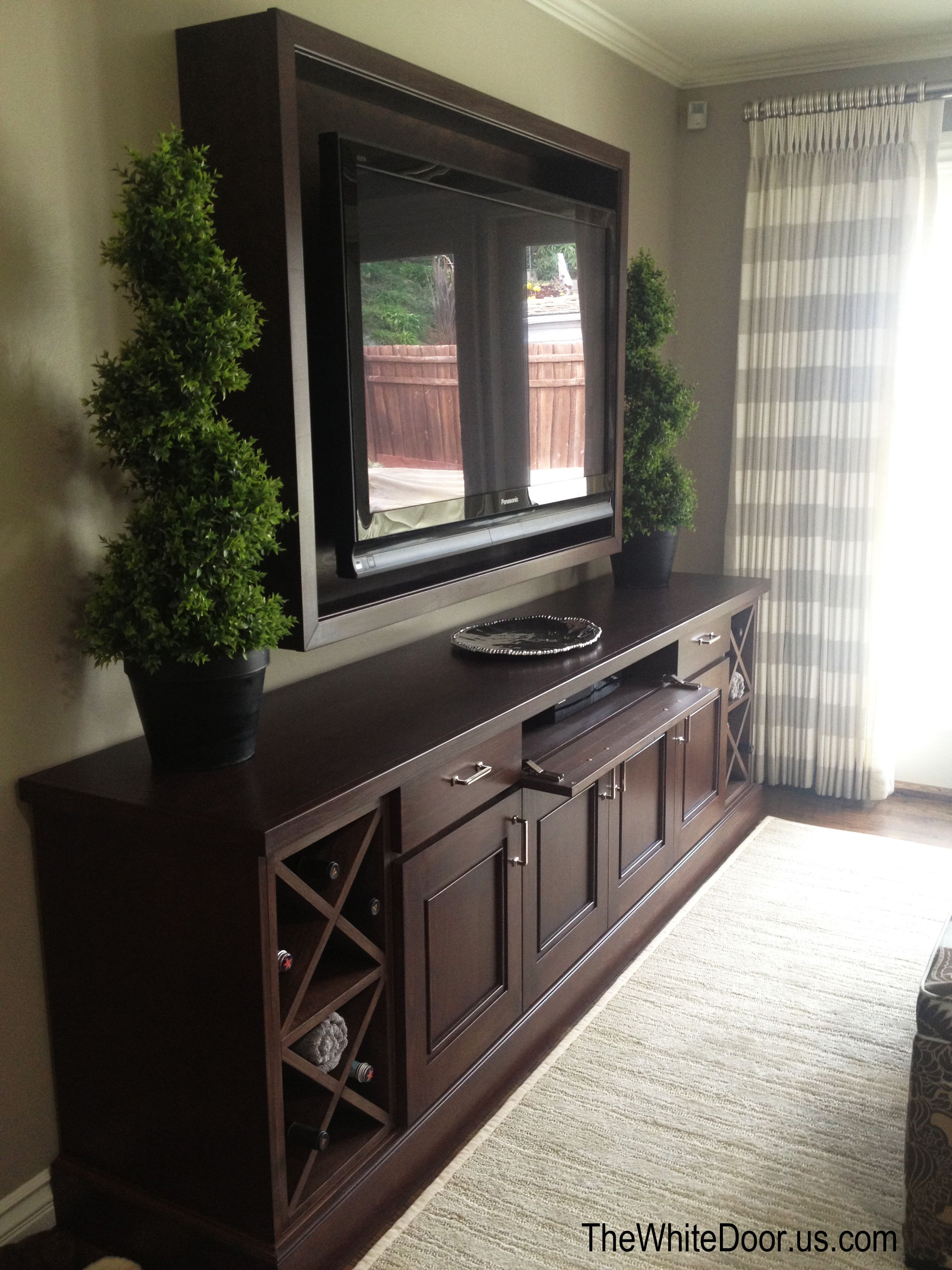 Custom entertainment center and framed tv backdrop stacey 39 s residence pinterest backdrops Master bedroom tv wall unit