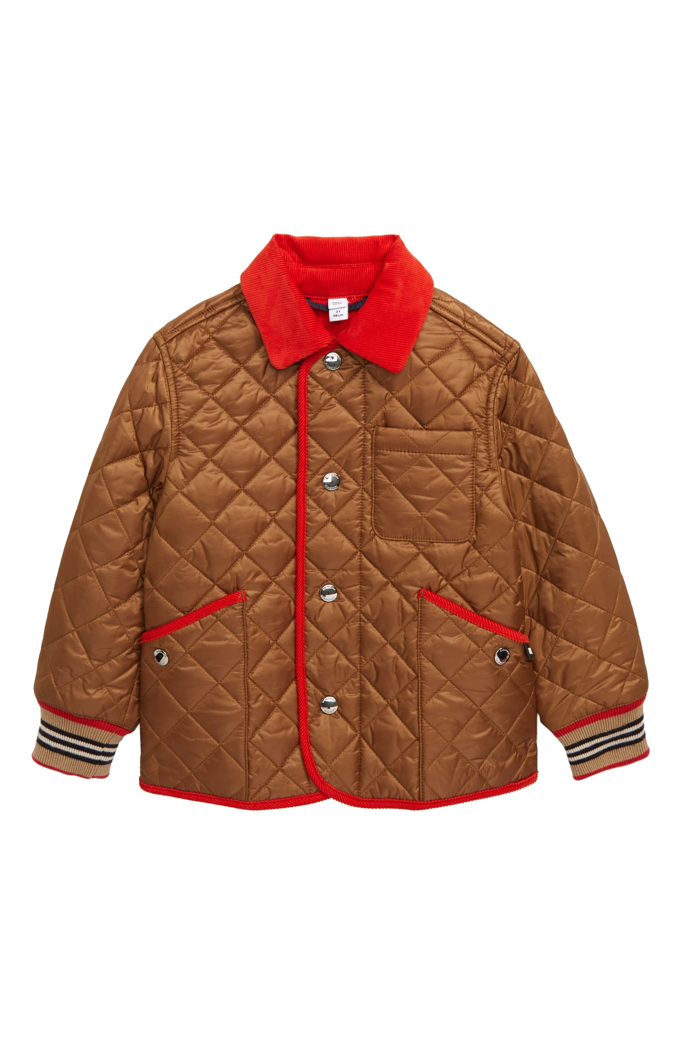 Toddler Boy S Burberry Culford Icon Stripe Trim Diamond Quilted Jacket Size 3y Brown Quilted Jacket Striped Trim Jackets