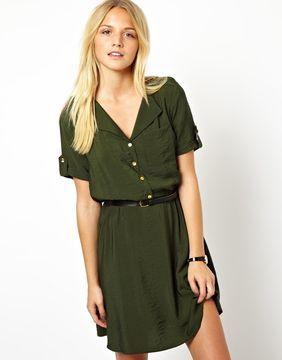 ace7de48d30 ASOS Shirt Dress With Military Detail on shopstyle.com