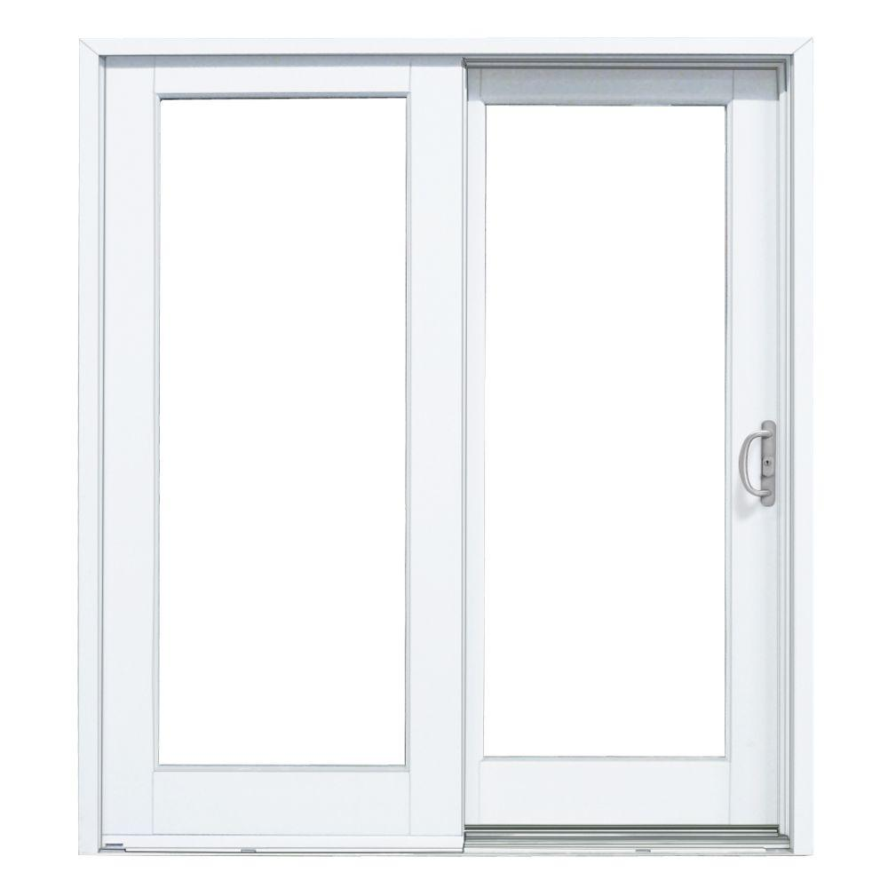 Masterpiece 72 In X 80 In Smooth White Right Hand Composite Sliding Patio Door G6068r00201 The Home Depot Patio Doors Sliding Patio Doors Folding Patio Doors