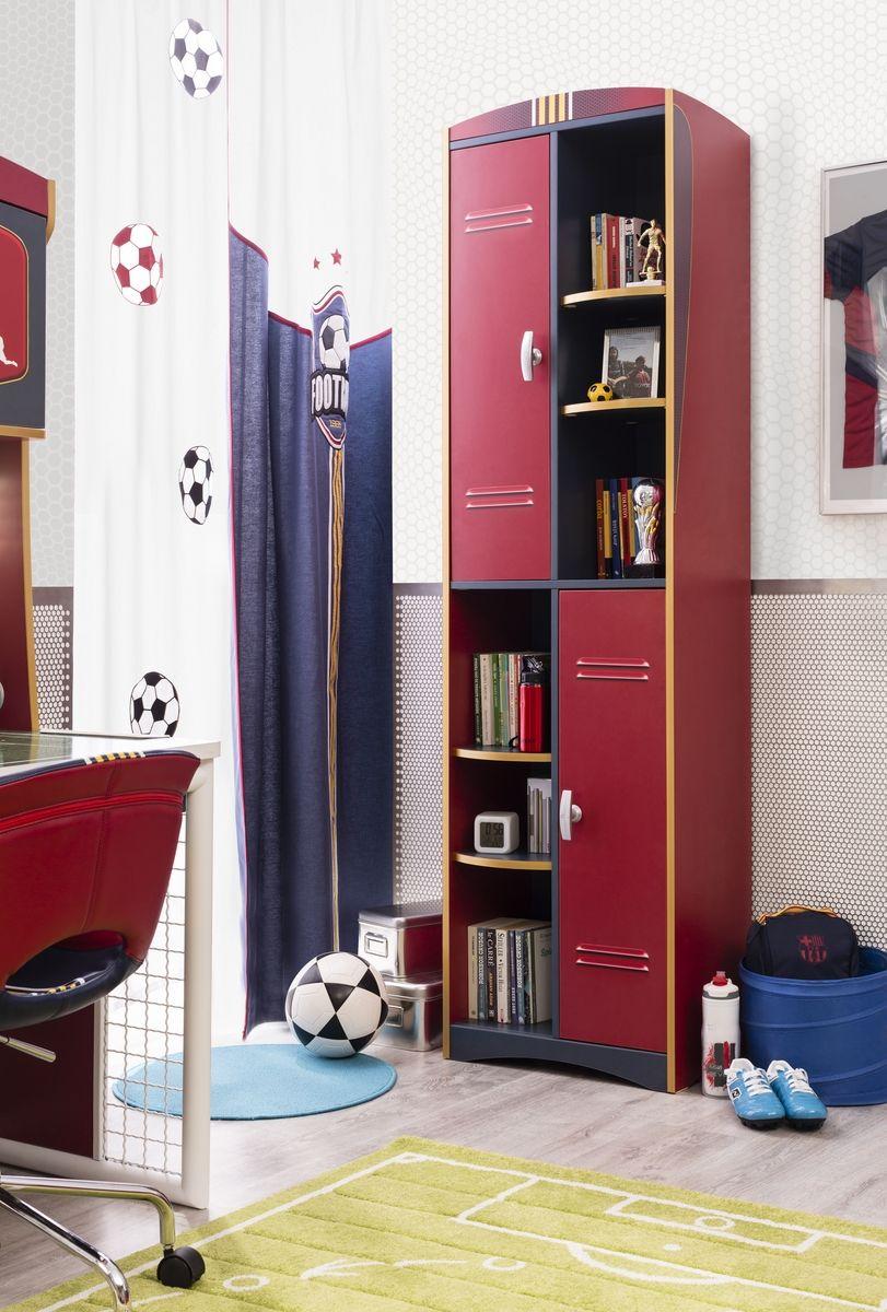 champion voetbal boekenkast rood kast jongenskamer voetbal