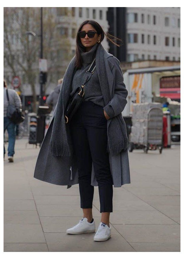 grey coat and sneakers outfit