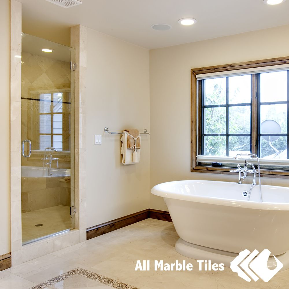 Crema Marfil Bathroom Tile Adding Some Shine To The Dreariness New York New Jersey Http Allmarbletiles Com Tile Bathroom House Bathroom
