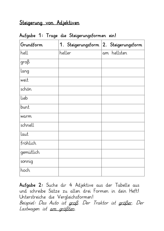 Steigerung von Adjektiven Arbeitsblatt – Unterrichtsmaterial im ...