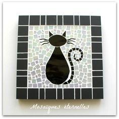 dessous de plat en mosa que chat noir format 16 x 16 cm sur commande mosaiikki. Black Bedroom Furniture Sets. Home Design Ideas