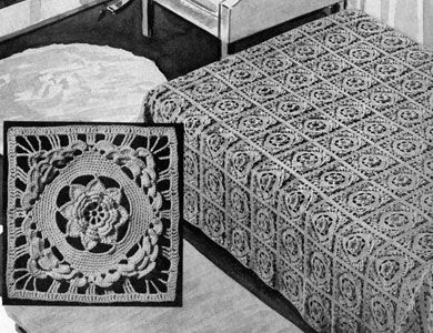 Rose of killarney bedspread crochet pattern from bedspreads rose of killarney bedspread crochet pattern from bedspreads originally published by the spool cotton company dt1010fo