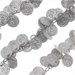 Antiqued Silver Plated 10mm Coin Charm Chain - Bulk By The Foot