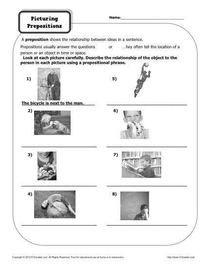 Preposition Worksheet - Picturing Prepositions Prepositions - resume questions worksheet
