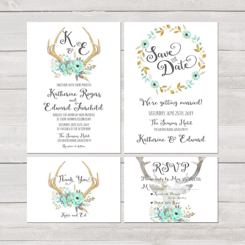 Mint Teal and Gold Glitter wedding Invitation kit set Deer Antler ...