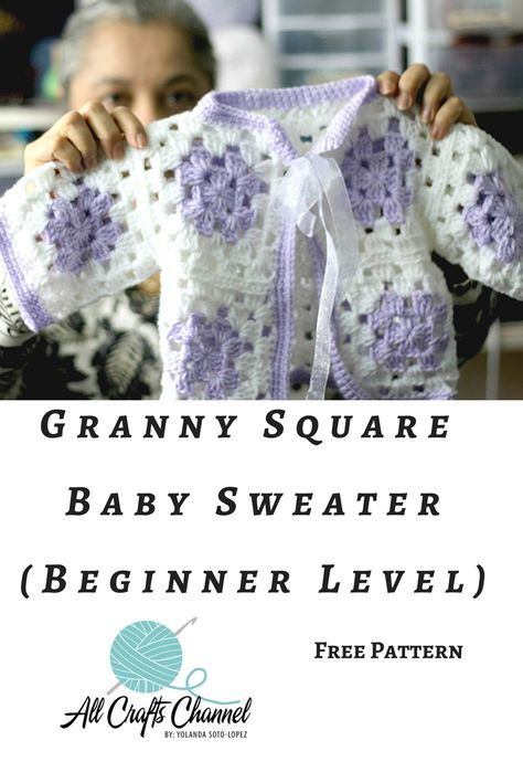 Photo of Even beginners can Crochet a Granny Square Baby Sweater – All Crafts Channel