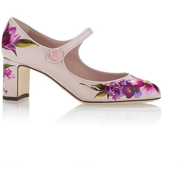 Dolce & Gabbana Floral Mary Jane Pump ($895) ❤ liked on Polyvore featuring shoes, pumps, pink mary janes, pink low heel pumps, pink patent leather pumps, pink mary jane pumps and pink shoes