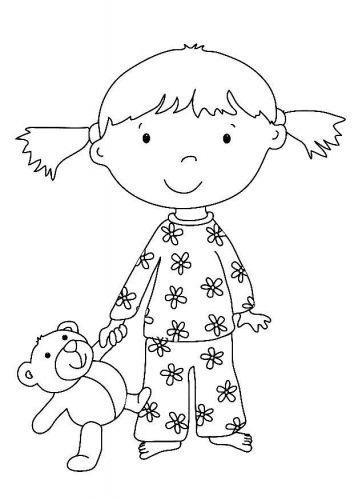 Nina En Pijama Dibujos Para Colorear Manualidades Con Filigrana De Papel Dibujos