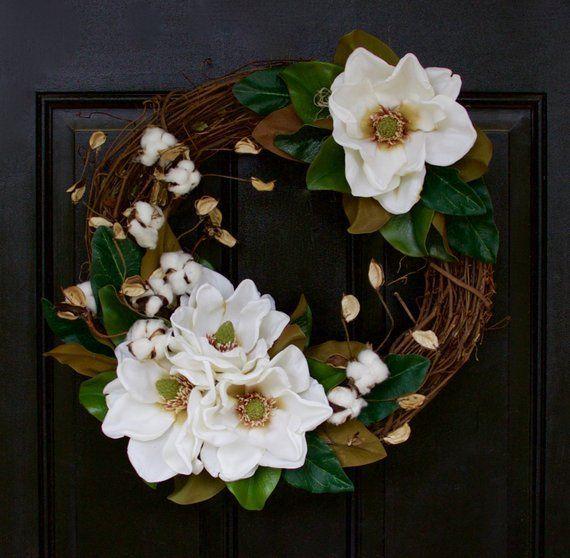 Photo of Magnolia Wreath, Magnolia Leaf Wreath, Front Door Wreath, Year Round Wreath, Summer Wreath, Everyday Wreath, Natural Wreath, Fixer Upper – 2019 – Cotton Diy