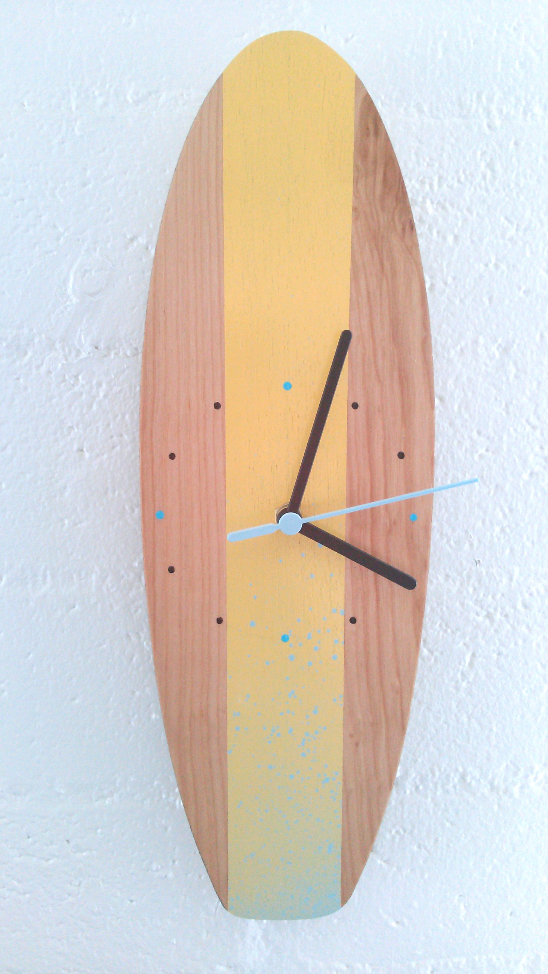 Handmade, wall hanging, wooden surfboard clock | Wood & Acrylic ...
