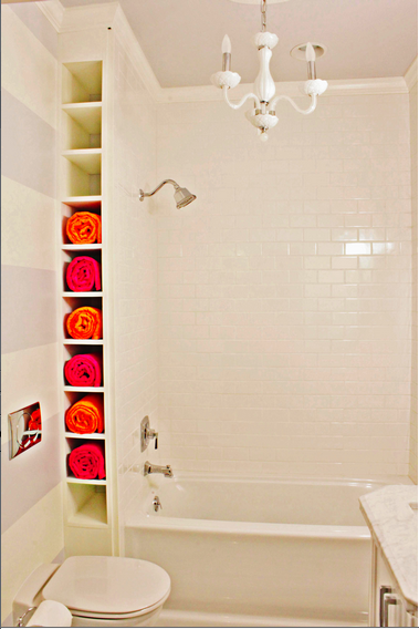 Small Cubbies Are Perfect For Towel Storage In A Tight Spot