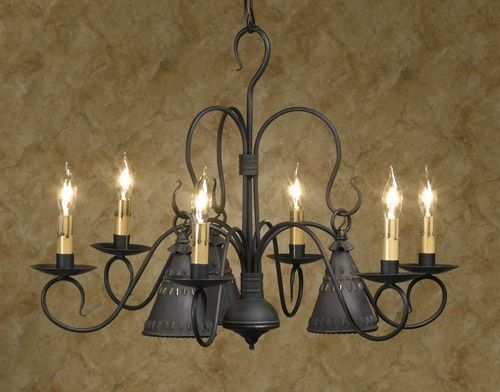 Petticoat 6 Arm Wrought Iron Chandelier Primitive Country