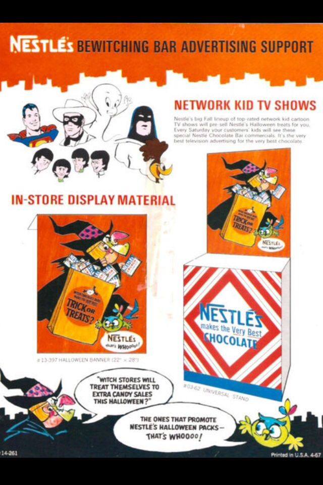 Beatles cartoons cameo in this 1967 Halloween store marketing display for Nestles chocolate candirs