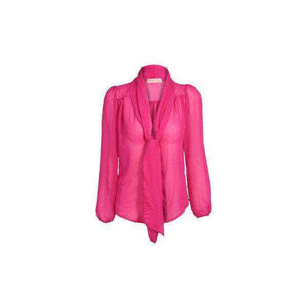 20ec37ac666 Krisp Womens See Through Chiffon Blouse Long Sleeve Smart Shirt Blouse  ( 18) ❤ liked