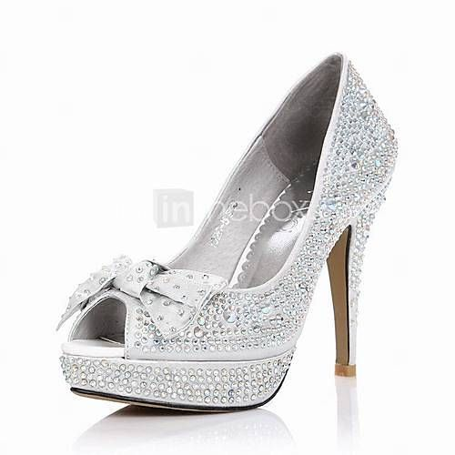 USD   88.19  Satin Stiletto Heel Pumps With Rhinestone Wedding Party Shoes 4129459cd7f0