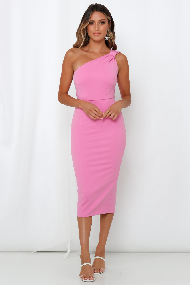 The Bright Pink Midi Dress Showcases Your Feminine Side With Its Classic Bodycon Silhouette And One Bright Pink Midi Dress Pink Midi Dress Bright Pink Dresses