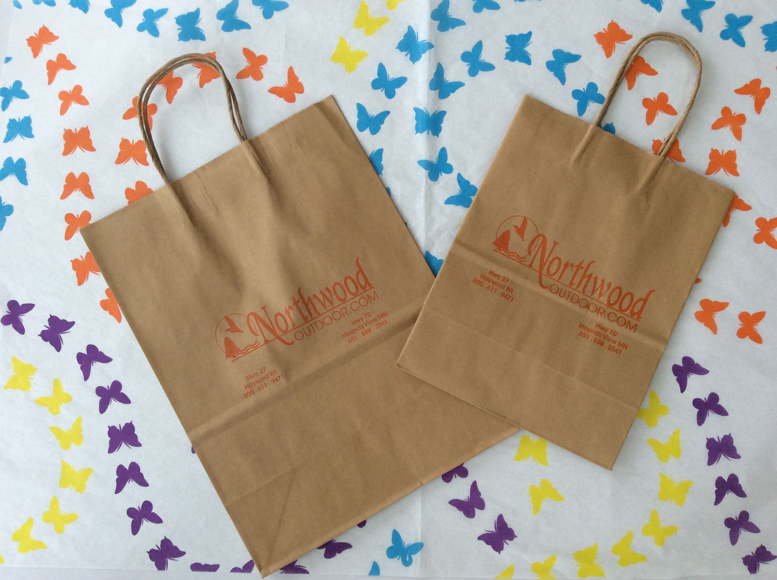 One Color Hot Stamp Logo Printed On 2 Sizes Of Natural Kraft Paper Twist Handle Bags Using The Same Printing Pla Hot Stamp Printing Paper Twist Butterfly Chain